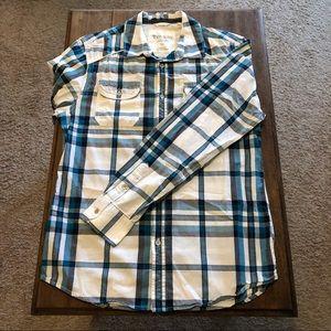 Guess Men's Plaid Long Sleeve Button-Down Shirt